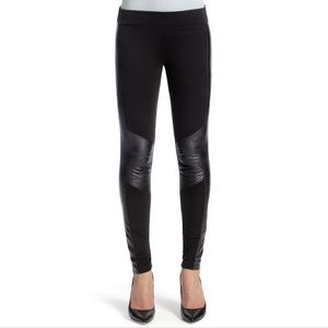 CAbi Black Ricky Ponte Faux Leather Leggings